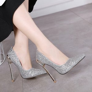 Spoon with 2020 new sequins glittering 13CM super high heel fine heel pointed high heels female wild fashion sexy single shoes