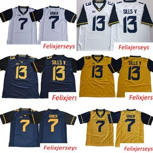 West Virginia Mountaineers 7 Will Grier 13 David Sills V WVU Bianco blu giallo cucito XII College Football Maglie