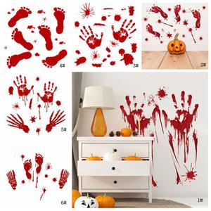 Cadılar Bayramı Duvar Sticker Kırmızı Ayak İzi Handprint Kapı Sticker Korku Kan Lekesi Pencere Sticker Cadılar Bayramı Partisi Ev Dekorasyon VT0555