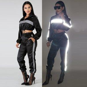 Donne 3M Reflective Designer tuta sportiva Set di abbigliamento Giacche Pantaloni 2pcs abbigliamento Abiti