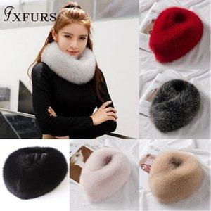 FXFURS 2019 nuovo stile coreano di inverno delle donne della pelliccia di Fox Sciarpe pelliccia reale Silenziatori con il magnete di facile usura 100% pelliccia di volpe Collare Sciarpa Anello Y200103