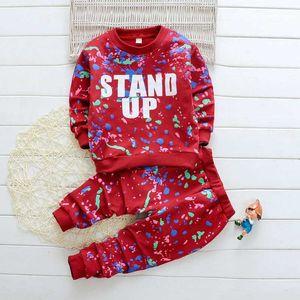 DAILOU Весна Детская одежда цвет печати комплект мальчик девочка толстовка + брюки из двух частей комплект одежды спортивные костюмы малыш спортивный костюм