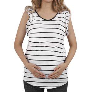 Nursing Top Women Pregnant Maternity Nursing Solid Tops Ruffles Breastfeeding Summer Clothes Breastfeeding Sleeveless T shirt