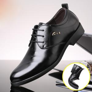 2018 nouveaux hommes en cuir PU formel lacets Hommes d'affaires Chaussures de haute qualité Hommes Chaussures Flats 1 Robe