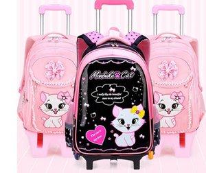 Miúdos da escola mochila Sobre rodas saco Crianças Escola rolamento mochilas para crianças de rodas mochila para Trolley escola meninas sacos de LY191224