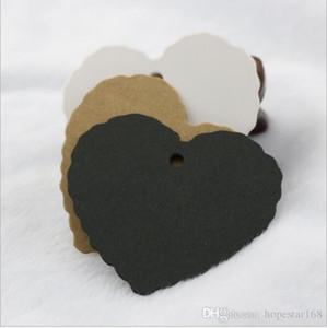 5.5 * 5.5cm Coeur dentelle bricolage étiquette de coup Bijoux Paquet cadeau Blank Label Kraft Paper Party Bagages mariage Noteds étiquette de cadeau