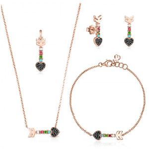 2019 100% 925 Urso de Prata Sterling banhado a prata 18k Rose Gold à Primeira Vista Multi-elemento pulseira colar de pingente Brincos
