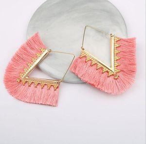 Trendige Mode ethnischen böhmischen Quaste Ohrringe für Frauen V-Form handgefertigte bunte große Hoop Anweisung Ohrringe Schmuck