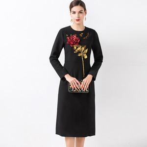 Neue Ankunft 2019 Herbstfrauen O Ansatz lange Hülsen Sequined Appliques Rosen-elegante gerade Art- und Weiserollbahn-Entwerfer-Kleider