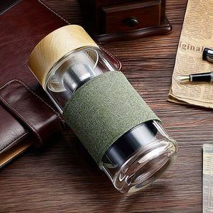 Bottiglie di vetro riscaldare l'acqua Bicchieri resistente del tè dell'acciaio inossidabile del setaccio di Infuser Ufficio Car bere tazza 400ML 5 disegni LQP-YW3117