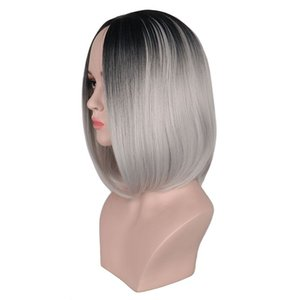 Ombre Synthétique Cheveux Perruques Femmes Résistant À La Chaleur Noir À Gris Synthétique Perruque Courte Bob