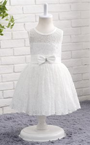 Lace Ivory Simple Elegant Short Kids Girls Formal Dress Flower Girl Dress Toddler Dress with Bow