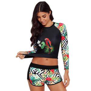 Women Print Quick-drying Surfing Two Piece Swimwear Sport Set Long Sleeve Slim Shirt with Shorts Pants Swimsuit biquini #sx