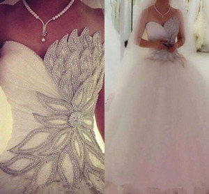 Bling Beaded Crystal Sweetheart Wedding Dresses Saudi Arabia Sequins Tulle Plus Size Ball 2020 Custom Vestido de novia Bridal Gown Arabic 84