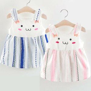 Tout-petit Bavettes filles Bow lapin mignon Belle bande sans manches Tenues robe vêtements pour enfants Pâques costume d'été Sundress