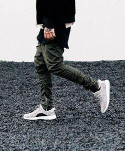 All'ingrosso-Nuovi uomini di modo di arrivo Pantaloni di gomma elastico inferiore Cerniera laterale pantaloni casual Tuta Pantaloni gamba pantaloni irregolari