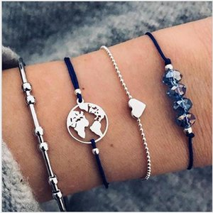 Bracelets set 4pcs package heart blue bead round map beaded chain rope chain gold color plated C shape bangle
