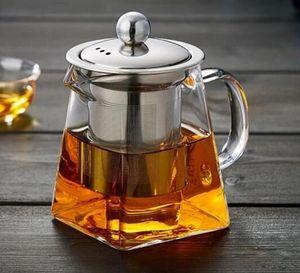Acero clara borosilicato Tetera de cristal con acero resistente al calor Infuser del tamiz de hojas sueltas Tea Pot