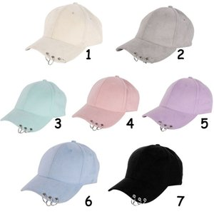 Aolikes Hot Unisex Solid Ring Safety Pin Curved Hats Climbing Cap Men Women Suede Caps Sport..