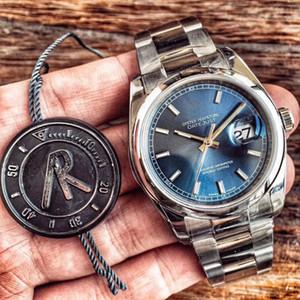 Fábrica de AR Mens Automatic Eta 2836 Relógio de Aço Inoxidável Pulseira Jubileu 36mm Data DATEJUST Dive Business azul azul Relógios