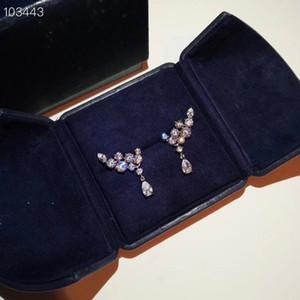 Luxury Classic Designer S925 Sterling Silver Full Zircon Swing Charm Stud Earrings For Women Jewelry