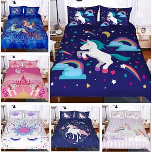 Unicornio de cama Conjunto 3 piezas muchacha de la historieta de dibujos animados Juego de cama Colchas Fundas de edredón para la caja de la cubierta del edredón Adolescentes Kits + funda de almohada XD21676