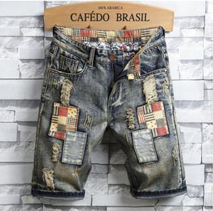 Unique Mens Ripped Denim Shorts Vintage diseñador de moda lavado hasta la rodilla Jeans 2019 Verano Hip Hop pantalones cortos pantalones 773