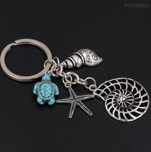 Conch Octopus Starfish Turquoise Sea Tortue Porte-clés Summer Beach Petits Animaux Porte-clés Vintage Argent Porte-clés Bijoux Cadeau Souvenirs