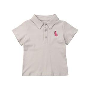 Estate del ragazzo del bambino manica corta T-shirt estive per bambini ragazzi Dinosaur Stampa Solid cotone manica corta gira giù Camicie Tops