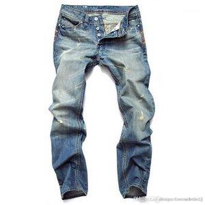 Light Blue Straight Mens Jeans Diseñador Delgado Largo Distrressed Zipper Fly Jeans Moda Hombre Ropa