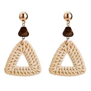 Neue Heiße Mode Bambus Rattan Stroh Weave Ohrringe Für Frauen Handgemachte Dreieck Lange Tropfen Baumeln Ohrring Weibliche Brincos Geschenk