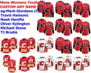 Calgary Flames jerseys Travis Hamonic Jersey Noah Hanifin Oliver Kylington Michael Stone Michael Frolik de hockey sobre hielo de los jerseys cosido personalizada