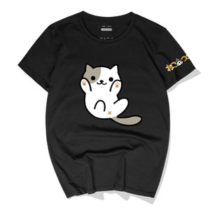 New Casual Men T-Shirts Japan Game Neko Atsume The cat backyard Cotton Tees Tops New Fashion Short Sleeve Round Neck Polos Streetwear