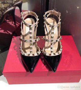 Bombas mulheres livres do transporte sexy senhora branca verniz preto picos de couro strappy sapatos de salto alto sandálias de salto fino sapatos de casamento festa noiva