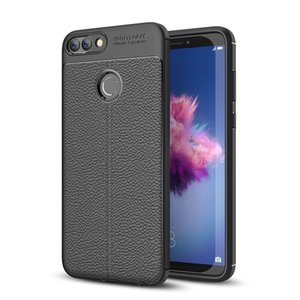 Slim Fit Ultra Thin Carbon Fiber Case for Huawei Enjoy 7s Leather PU Soft TPU Silicone Rubber Bumper Shockproof Phone Back Cover