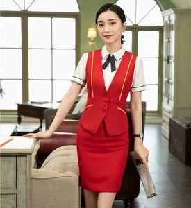 Etek ve Top ile Formal Bayan Kırmızı Yelek Yelek Kadınlar İş Takımları İş Wear Büro Giyim Setleri