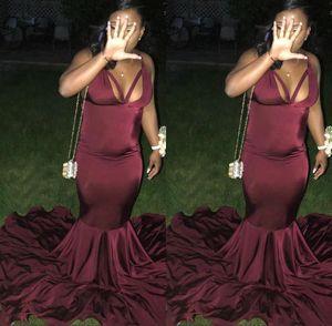 African Evening Burgundy Black Girls Mermaid Prom Dresses Satin Sexy Floor Length Formal Gowns Party Wear Ogstuff Robe De Soiree