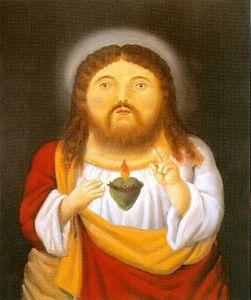 Fernando Botero Gesù su tela dipinto a mano della decorazione della casa HD Stampa Olio su tela di arte della parete della tela di canapa Immagini 200205