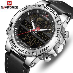 NAVIFORCE Top Marca Mens Fashion Desportivo Relógios Homens de couro impermeáveis Quartz Relógio de pulso Militar Analógico Digital Relogio Masculino