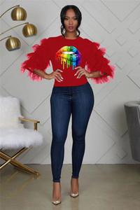 LGBT Femmes Designer Tshirt Rainbow Couleurs Lèvre Imprimé Vêtements De Mode Cascade De Gaze Manches Dames Vêtements Casual