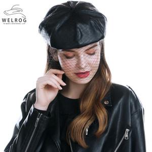 WELROG Fascinant Noir Chapeau d'hiver chic en cuir béret français avec Veil Mesh Voir Double couche Femmes Beret Casquette Beanies