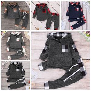 INS Bebek Giyim Seti Çiçek Kız Kapüşonlular pantolonları 2adet Setleri Ekose Bebek Boy Tracksuits Tasarımcı Çocuk Giyim Moda Bebek Giyim DW4798