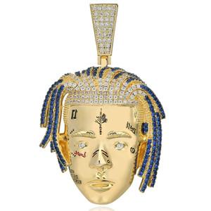 Hip Hop Jewelry Rapper XXXTentacion Iced Out Pendant Necklace CZ Iced Out Chains Punk Silver Color Charms Mens Gold Chain Pendant