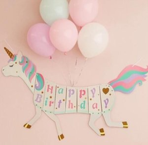 DHL Unicorn Paper flag Happy Birthday Banner Wedding horse flag Kids Children Baby Bunting Adult Favors Supplies Party Decorations nk