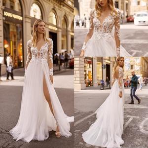 2020 Cheap Wedding Berta Vestidos V Neck Appliqued mangas compridas lombar Lace Vestido de Noiva Backless alta Dividir Sweep Trem Robes De Mariée