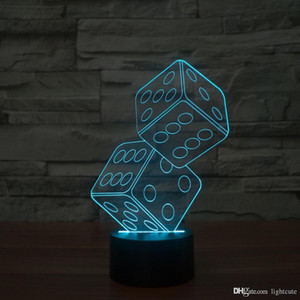 Doppel Dice 3D Illusion Nachtlicht, Touch-7 Farbwechsel, Inneneinrichtungen Baby-Jungen-LED-Lampe chlid Kind-Geburtstags-Geschenk-Weihnachtsgeschenk-Weihnachtsgeschenk