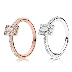 Autêntica jóia de 925 anel de casamento de prata por Pandora Sparkling Praça de Halo Anel CZ Diamond Rings presente com caixa original