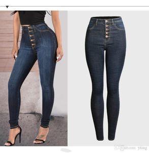 nueva Europa y América del engrosamiento simples pies de los pantalones vaqueros mujeres de alto cintura era delgada pantalones lápiz pantalones delgados multi-botón