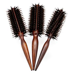 Антистатический Вуд Кабан щетиной волос Круглая щетка для укладки Парикмахерская теребят Щетка для волос Вьющиеся Comb 3 Размеры выбрать