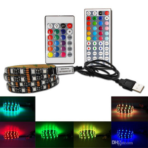 DIY 5050 RGB LED Strip водонепроницаемый DC 5V USB LED Light Stripes гибкая лента 50 см 1 м 2 м 3 М 4 М 5 м добавить пульт дистанционного управления